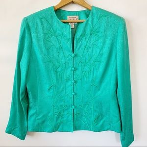 Adrianna papéll Blouse Green Size 12 100% silk